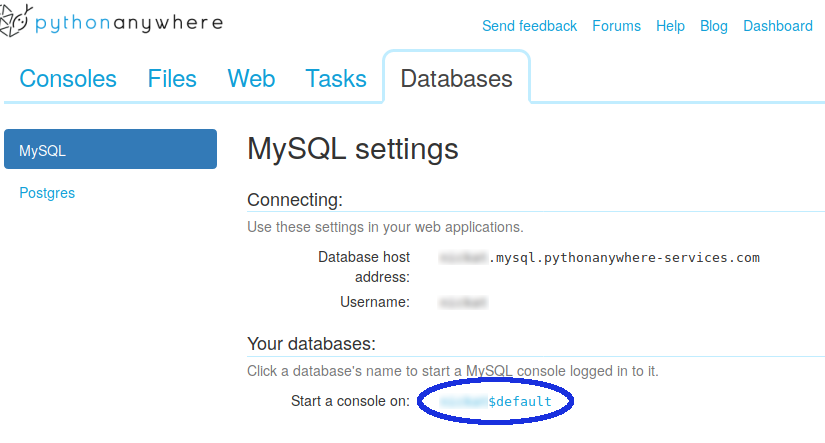 The Database tab and a link to the MySQL console